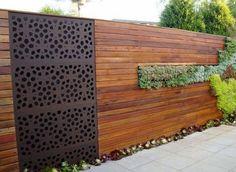 veriscape, horizontal wood fence, metal screen insert, vertical garden
