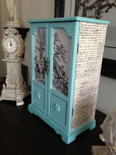 Vintage upcycled Hand Painted and Decoupaged Jewelry Box Armoire