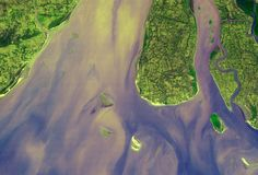 The Hugli River Delta in India empties in the Bay of Bengal in this beautiful photo taken in 2005.