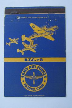Army Air Forces Kearns Utah BTC #5 Vintage 40 Strike Military Matchbook Cover