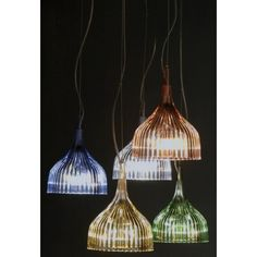 E' is @kartelldesign  Suspension lamp, designed by F #Laviani. Easy and coloured, also available in applique version