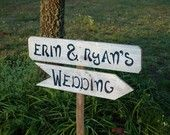 Wedding Signs With Stake Personalized Reclaimed Wood Signs. Party Sign. Wedding Reception Sign. Parking Sign. Directiona Arrow Signs