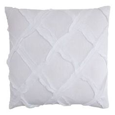 """Linen and cotton-blend throw pillow with lattice motif.Product: Pillow  Construction Material: Linen and cotton and polyester fillColor: White        Features: Insert included Dimensions: 18"""" x 18"""" Cleaning and Care: Machine washable"""