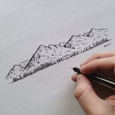 Little landscape I created for my Grandma for Christmas. About 95% of the landscapes I draw are created out of my imagination. #illustration #mountains