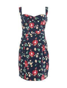Kelly Brook Navy Floral Print Sweetheart Dress £34.99
