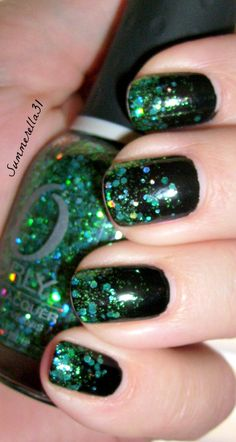 Green Glitter Gradient- Orly Mermaid Tale and Wet N Wild Ebony Hates Chris