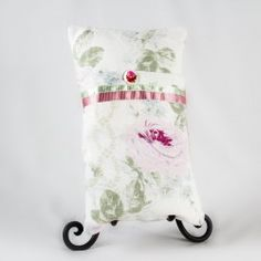 """This beautiful pillow exudes subtle nourishment and calm with soft vintage linen, floral Shabby Chic linen, and a quiet palette of pink, green and white. Perfect size for comfort during radiation or infusion treatments.  10"""" x 16"""" with bamboo fill insert."""