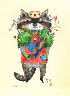 Animal Battle ORIGINAL // Battle Raccoon by LittleWolfArt on Etsy, $300.00