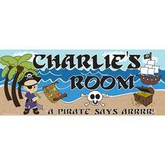 Mona Melisa Designs Pirate Boy Name Wall Decal Skin Shade: Dark, Eye Color: Brown, Hair Color: Red