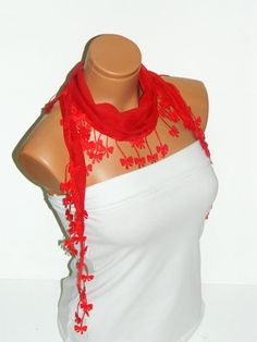 Personalized Design red Scarf Turkish Fabric by WomanStyleStore, $14.00
