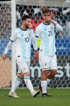 Paulo Dybala of Argentina celebrates after scoring the second goal of his team with teammate Lionel Messi during the Copa America Brazil 2019 Third Place. Lional Messi, Messi Soccer, Messi And Ronaldo, Neymar, Messi Argentina, Argentina Football, Best Football Players, Football Boys, Soccer Players