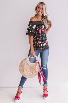 Mojitos In Mexico Floral Shift Top in Black Casual Outfits, Cute Outfits, Fashion Outfits, Fashion Clothes, Girl Outfits, Hot Pink Wedges, Outfits For Mexico, Fiesta Outfit, Boho Tops