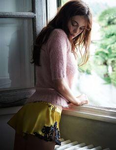 woman, female, model, lady, window, natural, light, crochet, knit, sweater, yellow, silk, panties, pink, radiator, color