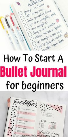 How To Start A Bullet Journal: The Ultimate Guide For Beginners - juelzjohn - - The ultimate guide on how to start a bullet journal for beginners.Bullet journal ideas that will simplify and improve your life.Start a bullet journal guide. Bullet Journal First Page, Bullet Journal For Beginners, Creating A Bullet Journal, Self Care Bullet Journal, Bullet Journal Hacks, Bullet Journal Notebook, Bullet Journal Aesthetic, Bullet Journal Ideas Pages, Book Journal