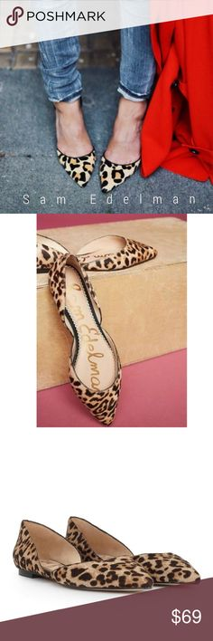 Sam Edelman Leopard d'Orsay flats GORGEOUS flats from Sam Edelman! With leg-lengthening cutout sides, D'Orsay flats are as trendy as they are comfortable. Try pairing with a slouched pair of boyfriend jeans and a buttondown for a casual day out, or style with a pencil skirt and blouse for an office-appropriate look.  Excellent condition. 😍. (People pics for inspiration) Sam Edelman Shoes Flats & Loafers
