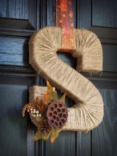"twine-wrapped ""letter wreath"" I love this.. Ok next project!!"