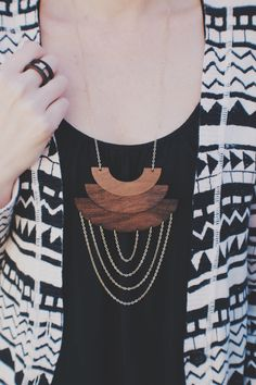 Eclipse Necklace - Laser Cut Wooden Engraved Ombre Geometric Lunar Eclipse Necklace with Chain by HavokDesigns on Etsy https://www.etsy.com/listing/209134692/eclipse-necklace-laser-cut-wooden