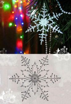 Decoration to hang with 8 handmade crochet snowflakes - Her Crochet Diy Christmas Fireplace, Diy Christmas Snowflakes, Snowflake Garland, Snowflake Craft, Snowflake Decorations, Crochet Christmas Ornaments, Christmas Crafts, Christmas Decorations, Crochet Snowflake Pattern