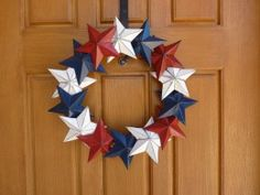 DIY Wreath made from cereal box stars! 4th of July. Memorial Day. Veterans Day.