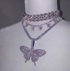 """""""silver iced out women jewelry hip hop bling tennis chain choker cz paved butterfly pendant necklace"""" Cute Jewelry, Jewelry Box, Jewelery, Vintage Jewelry, Jewelry Accessories, Women Jewelry, Bling Jewelry, Chain Jewelry, Antique Jewelry"""