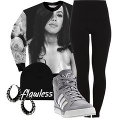 """RIP Aaliyah"" by jeweliana86. Polyvore. Adidas Sneakers. Aaliyah Top. Sweater. Leggings. Swag. Hip Hop Fashion. Urban Outfit. Urban Fashion. Dope. Trill"