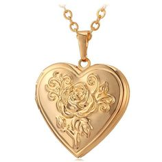 Photo Frame Memory Locket Pendant Necklace Silver/Gold Color Romantic Love Heart Vintage Rose Flower Jewelry