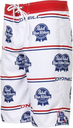 O'Neill | PBR Logo Boardshorts $48.95 #pabst #pbr #beer...oh my D needs these for the cabin