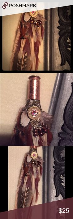 Bullet Jewelry Neckless w/Pheasant Feathers Handmade, Acid Etched, Winchester Casing, Swarovski Crystal, 925 Chain Included,  Western Bling Jewelry Necklaces