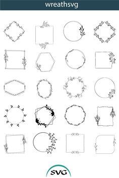 Leaf Silhouette, Silhouette Design, Digital Board, Stencils For Wood Signs, Leaf Clipart, Laurel Leaves, Laurel Wreath, Monogram Frame, Invitation Design
