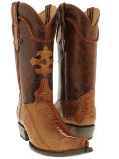 Men's Cognac Brown genuine exotic ostrich leg skin cowboy boots western rodeo