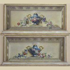 """14-597  Pair of 19th C. Overdoor Panels (c: 1830) 67""""w x 32""""h $ 6,600"""