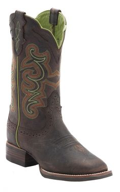 Justin® Ladies Silver Collection Chocolate Buffalo Double Welt Square Toe Cowboy Boots