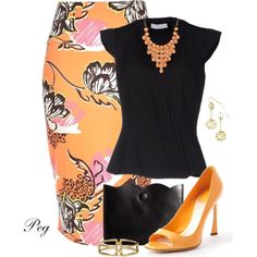"""Black and Orange"" by derniers on Polyvore"