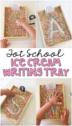 We love salt trays for practicing pre-writing skills! This sprinkle letter writing tray is perfect for an ice cream theme in tot school preschool or the kindergarten classroom. Preschool Literacy, Preschool Themes, Kindergarten Classroom, Literacy Activities, Preschool Activities, Preschool Summer Theme, Kindergarten Crafts, Preschool Printables, Educational Activities