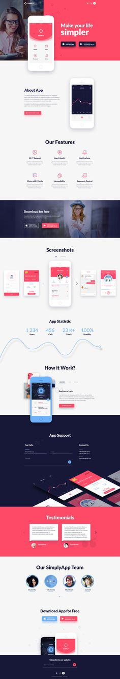 Simply is One Page PSD template with modern, and clean design suitable for app…