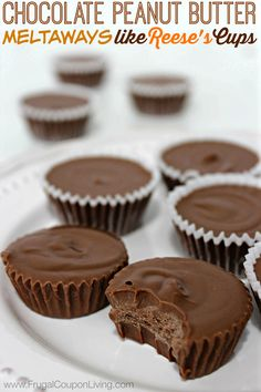 Easy Homemade Reese's Cups - Chocolate Peanut Butter Meltaways on Frugal Coupon Living. Homemade Candy Bars. DIY Recipe