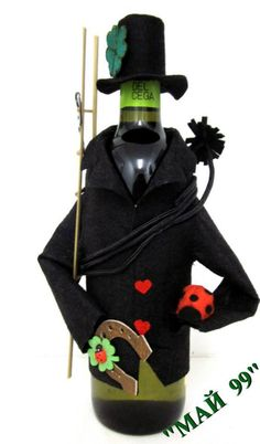 Wine Botlles Covers Chimney sweep by ArtCreationsbyRosi on Etsy,