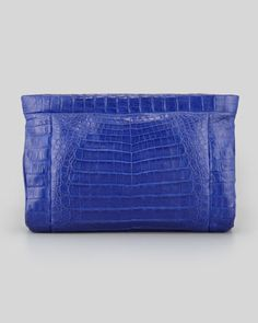 Crocodile Soft Clutch Bag, Cobalt by Nancy Gonzalez at Bergdorf Goodman.