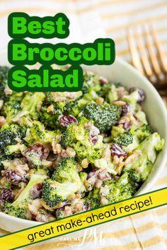 Best Broccoli Salad Recipe, Broccoli Salad Bacon, Best Salad Recipes, Salad Dressing Recipes, Bacon Recipes, Side Recipes, Best Vegetable Recipes, Cooking Recipes, Vegetable Salads