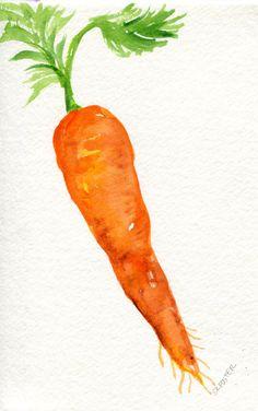 Carrot watercolors paintings original 4 x 6  by SharonFosterArt
