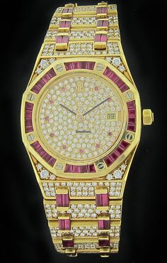 Audemars Piguet Yellow Gold Royal Oak Diamond and Ruby Watch 14847ba  very rare and unusual fancy Audemars Piguet Royal Oak