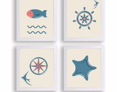 Kit 3 quadros decorativos quarto bb navy