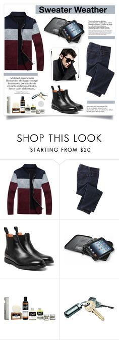 """""""Sweater Weather. Men's fashion."""" by qamar-fashionista ❤ liked on Polyvore featuring TravelSmith, Folio, Detroit Grooming Co., GALA and DKNY"""