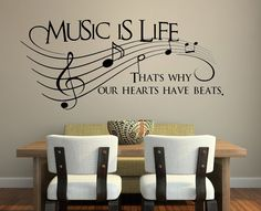 Music is life.. That's why our hearts have beats Vinyl Wall Decal Sticker Art Vinyl Wall Stickers, Cheap Stickers, Music Wall Decor, Wall Art Decor, Bedroom Wall, Creative Decor, Wall Design, Teen Bedrooms, Music Party