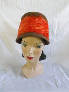 50's 60's Vintage Bucket Hat Brown with Orange Feathers Fashion Guild Distinction Originality