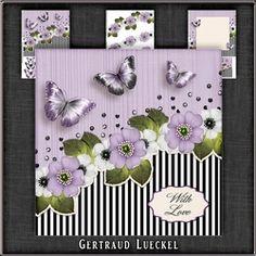 Vintage Stripes Flowers purple 1121 on Craftsuprint - View Now!