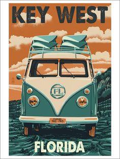 Key West, Florida - VW Van Letterpress (9x12 Art Print, Wall Decor Travel Poster)
