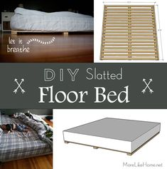 DIY Slatted Floor Bed tutorial - it's a super easy and affordable way to get your mattress off the floor (but not too far off the floor) to create airflow and prefent moisture/mildew/mold/yuckiness. Floor Bed Frame, Diy Bed Frame, Bed On Floor, Bed Frames, Cool Diy, Toddler Floor Bed, Crate Nightstand, Mattress On Floor, Matress On Floor Ideas