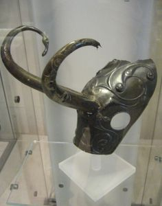 Celtic horse helmet. Bronze-age protective headgear for a horse, exhibited in the Royal Scottish Museum, Chambers Street