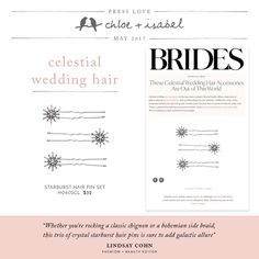 Check out this month #presslove, Now in BRIDES magazine. Starburst Hair Pin Set!